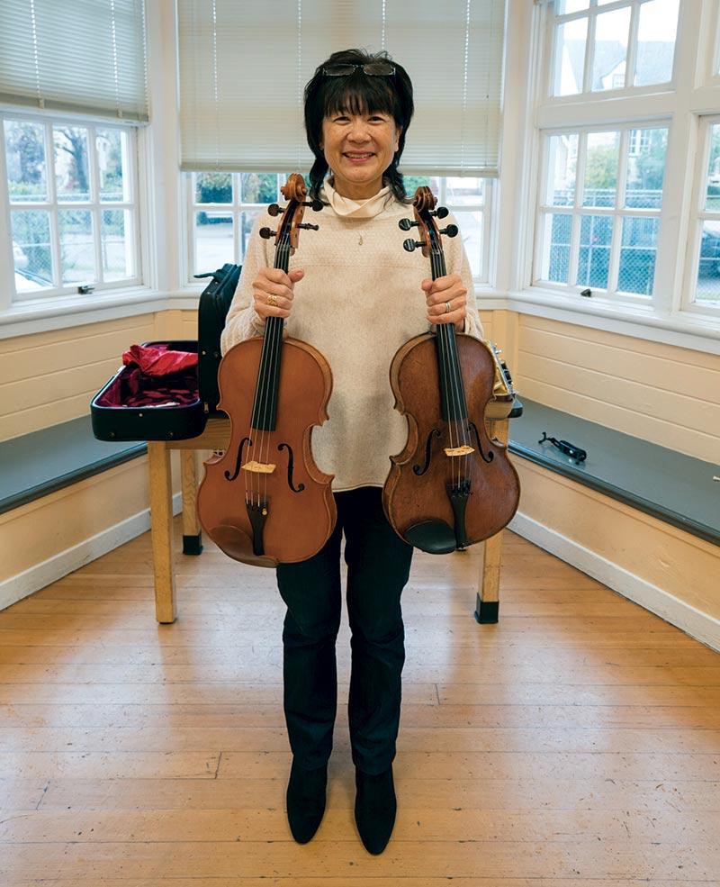 Doris Fukawa and donated instruments